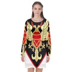 Iranian Army Karate Badge Long Sleeve Chiffon Shift Dress