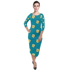Toast With Cheese Pattern Turquoise Green Background Retro Funny Food Quarter Sleeve Midi Velour Bodycon Dress by genx