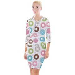 Donut Pattern With Funny Candies Quarter Sleeve Hood Bodycon Dress by genx