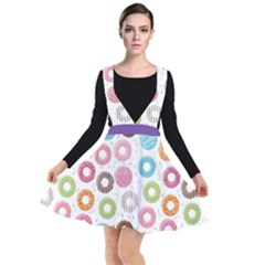 Donut Pattern With Funny Candies Plunge Pinafore Dress by genx