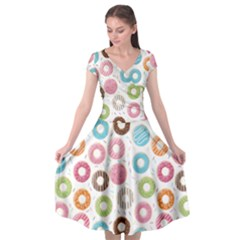 Donut Pattern With Funny Candies Cap Sleeve Wrap Front Dress