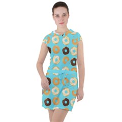 Donuts Pattern With Bites Bright Pastel Blue And Brown Drawstring Hooded Dress by genx