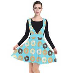 Donuts Pattern With Bites Bright Pastel Blue And Brown Plunge Pinafore Dress by genx