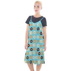 Donuts Pattern With Bites Bright Pastel Blue And Brown Camis Fishtail Dress by genx