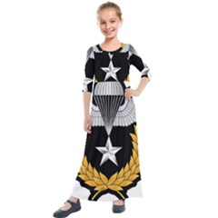 Iranian Army Parachutist Master 3rd Class Badge Kids  Quarter Sleeve Maxi Dress