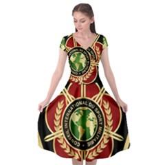 Iranian Cism Emblem Cap Sleeve Wrap Front Dress