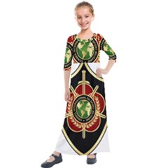 Iranian Cism Emblem Kids  Quarter Sleeve Maxi Dress by abbeyz71