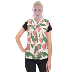 Tropical Watermelon Leaves Pink And Green Jungle Leaves Retro Hawaiian Style Women s Button Up Vest