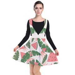 Tropical Watermelon Leaves Pink And Green Jungle Leaves Retro Hawaiian Style Plunge Pinafore Dress by genx