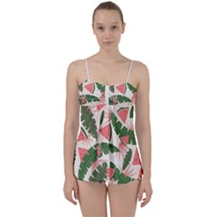 Tropical Watermelon Leaves Pink And Green Jungle Leaves Retro Hawaiian Style Babydoll Tankini Set by genx