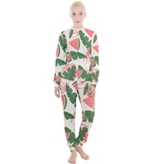 Tropical Watermelon Leaves Pink And Green Jungle Leaves Retro Hawaiian Style Women s Lounge Set by genx