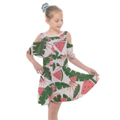 Tropical Watermelon Leaves Pink And Green Jungle Leaves Retro Hawaiian Style Kids  Shoulder Cutout Chiffon Dress by genx