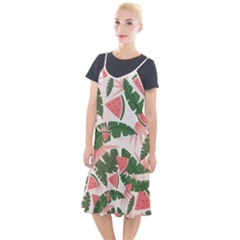 Tropical Watermelon Leaves Pink And Green Jungle Leaves Retro Hawaiian Style Camis Fishtail Dress by genx