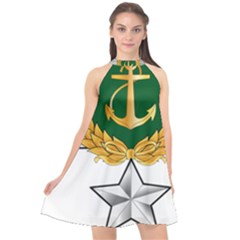 Iranian Navy Amphibious Warfare Badge Halter Neckline Chiffon Dress