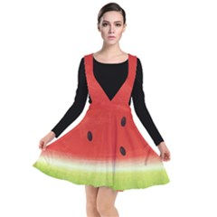 Juicy Paint Texture Watermelon Red And Green Watercolor Plunge Pinafore Dress by genx