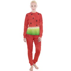 Juicy Paint Texture Watermelon Red And Green Watercolor Women s Lounge Set by genx