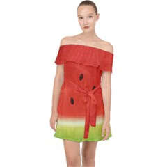 Juicy Paint Texture Watermelon Red And Green Watercolor Off Shoulder Chiffon Dress by genx