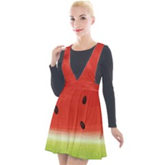 Juicy Paint Texture Watermelon Red And Green Watercolor Plunge Pinafore Velour Dress by genx