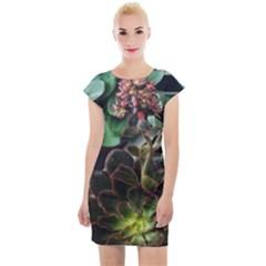 Succulents Cap Sleeve Bodycon Dress by okhismakingart