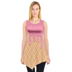 Ice Cream Pink Melting Background With Beige Cone Sleeveless Tunic by genx