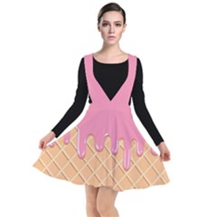 Ice Cream Pink Melting Background With Beige Cone Plunge Pinafore Dress by genx