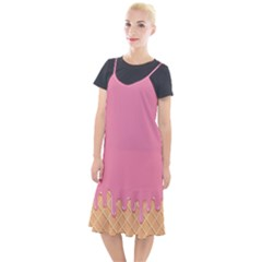 Ice Cream Pink Melting Background With Beige Cone Camis Fishtail Dress by genx
