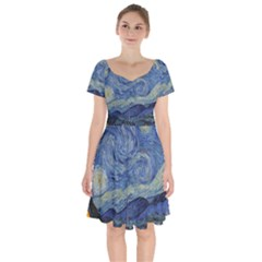 The Starry Night Starry Night Over The Rhne Pain Short Sleeve Bardot Dress
