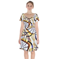 Pattern Fractal Gold Pointed Short Sleeve Bardot Dress