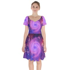 Spiral Strudel Galaxy Eddy Fractal Short Sleeve Bardot Dress by Pakrebo