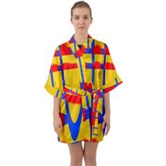 Graphic Design Graphic Design Quarter Sleeve Kimono Robe