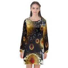 Star Mystical Fantasy Long Sleeve Chiffon Shift Dress