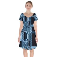 Circuit Pcb Tile Tiling Computer Short Sleeve Bardot Dress