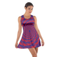 Fractal Rose Blue Red Cotton Racerback Dress