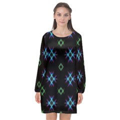 Background Abstract Vector Fractal Long Sleeve Chiffon Shift Dress