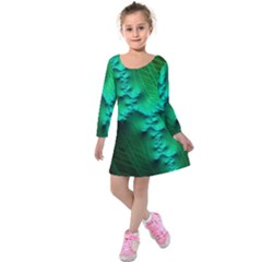 Fractal Maths Design Backdrop Kids  Long Sleeve Velvet Dress by Pakrebo