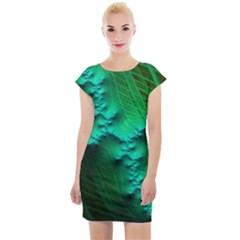 Fractal Maths Design Backdrop Cap Sleeve Bodycon Dress