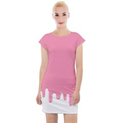 Ice Cream Pink Melting Background Bubble Gum Cap Sleeve Bodycon Dress by genx