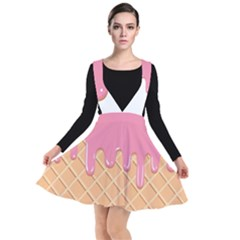 Ice Cream Pink Melting Background Bubble Gum Plunge Pinafore Dress by genx