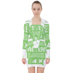 Never Look Back V Neck Bodycon Long Sleeve Dress by Melcu