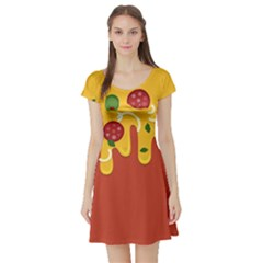 Pizza Topping Funny Modern Yellow Melting Cheese And Pepperonis Short Sleeve Skater Dress