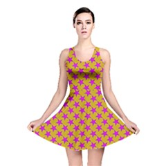 Pink Stars Pattern On Yellow Reversible Skater Dress