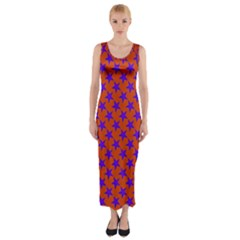 Purple Stars Pattern On Orange Fitted Maxi Dress by BrightVibesDesign