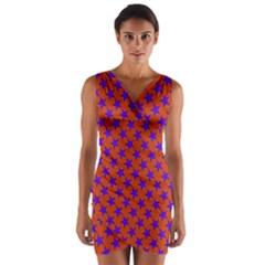 Purple Stars Pattern On Orange Wrap Front Bodycon Dress by BrightVibesDesign