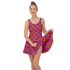 Purple Stars Pattern On Orange Inside Out Casual Dress by BrightVibesDesign