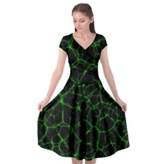 System Web Network Connection Cap Sleeve Wrap Front Dress