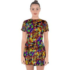 Color Mosaic Background Wall Drop Hem Mini Chiffon Dress