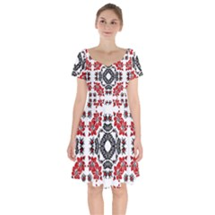 Ornament Seamless Pattern Element Short Sleeve Bardot Dress