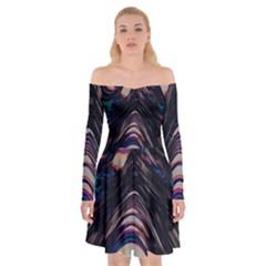 Pattern Texture Fractal Colorful Off Shoulder Skater Dress