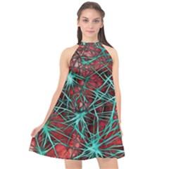 Nerves Cells Star Dendrites Sepia Halter Neckline Chiffon Dress