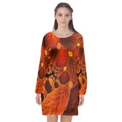Leaf Autumn Nature Background Long Sleeve Chiffon Shift Dress